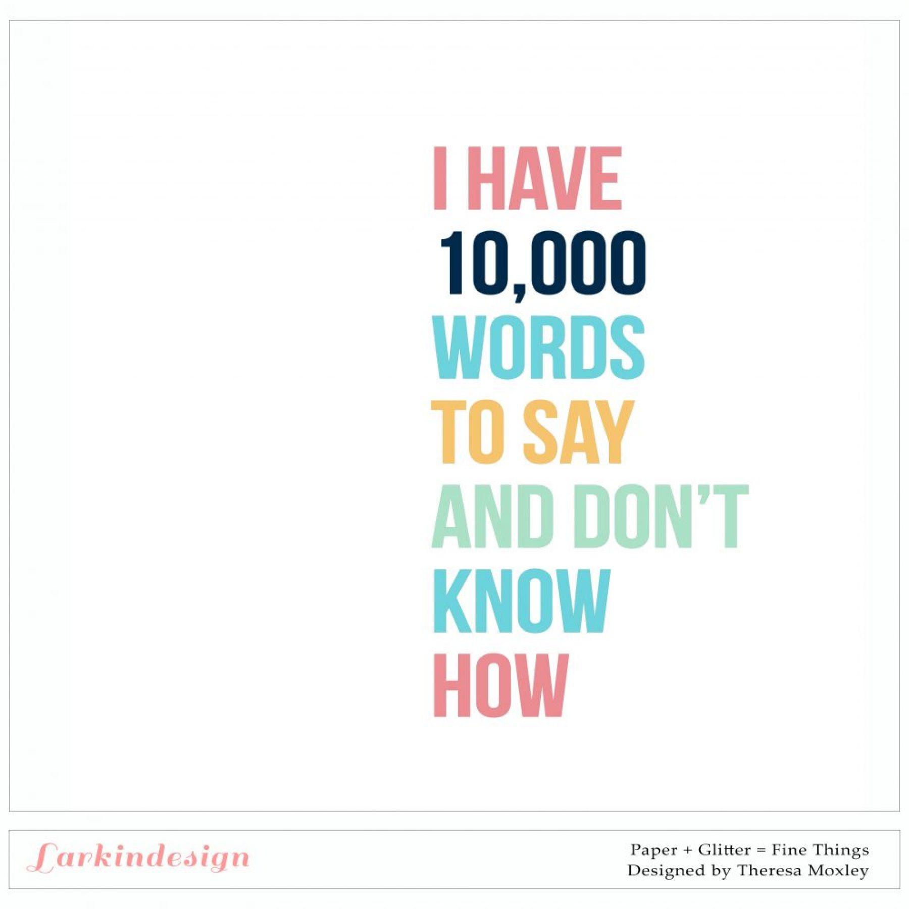 10,000 Words To Say Digital Cut File