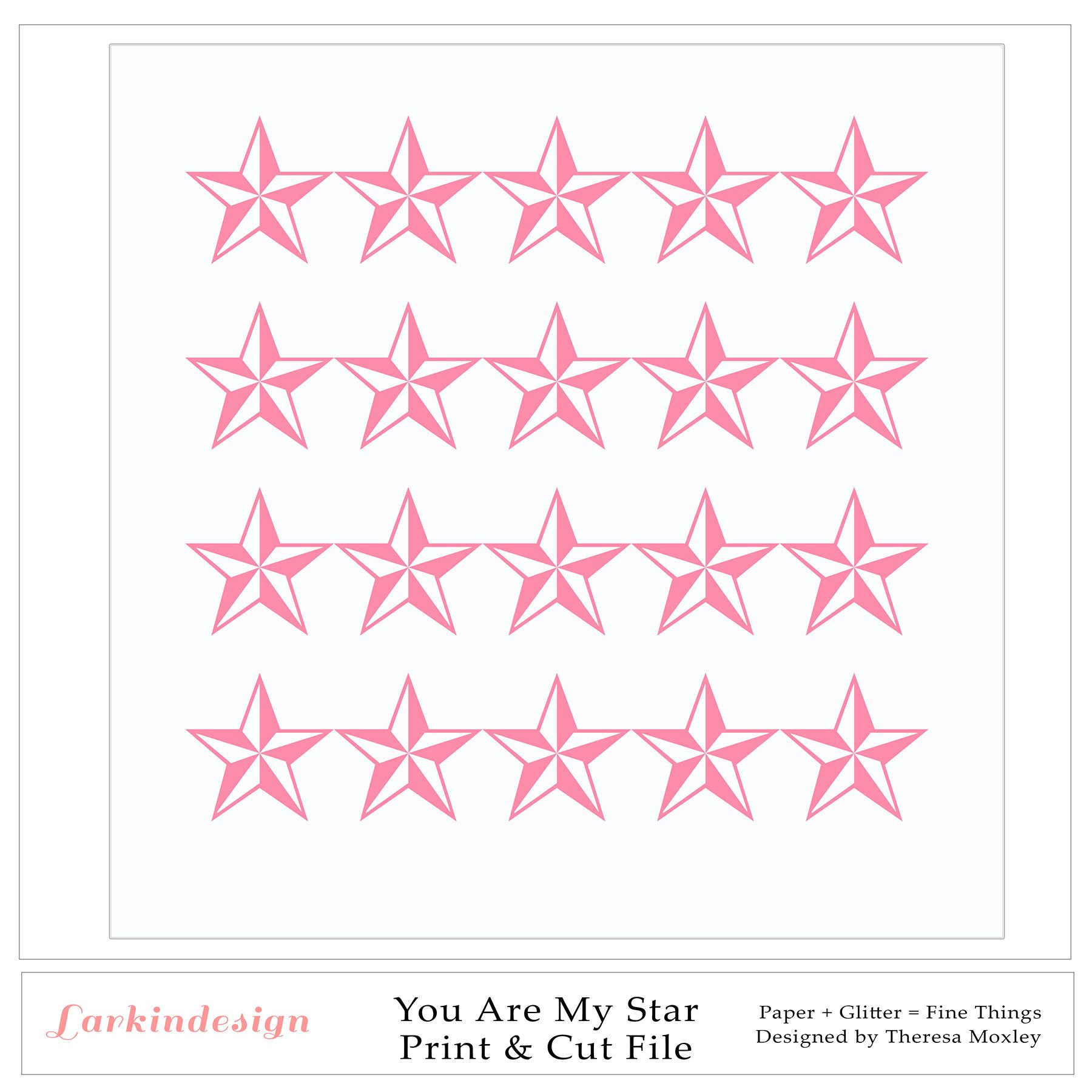 You Are My Star Digital Print and Cut File