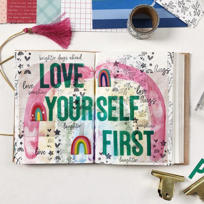Larkindesign Art Journal Layout | Love Yourself First