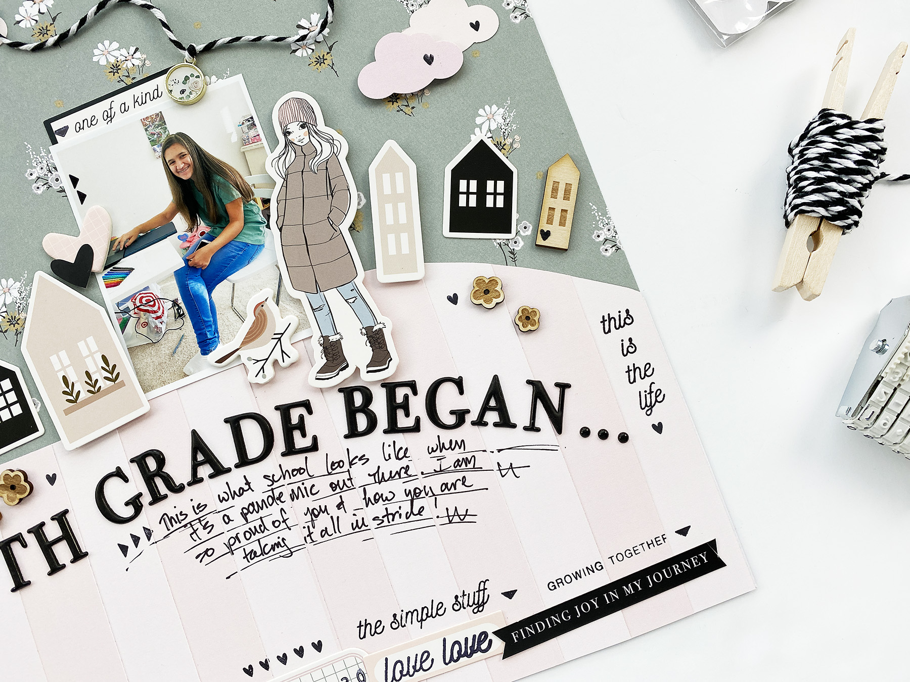 Kids Scrapbook Albums Project | Natalie's First Day of 8th Grade