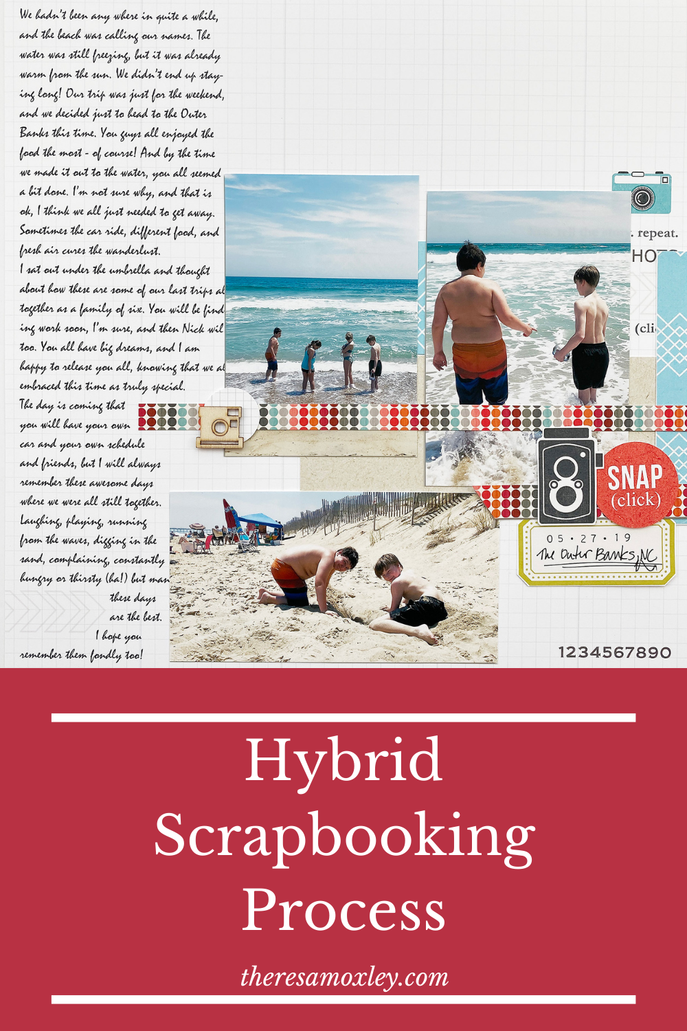 Theresa Moxley Sahlin Studio Design Team | The Outer Banks Hybrid Scrapbook Layout