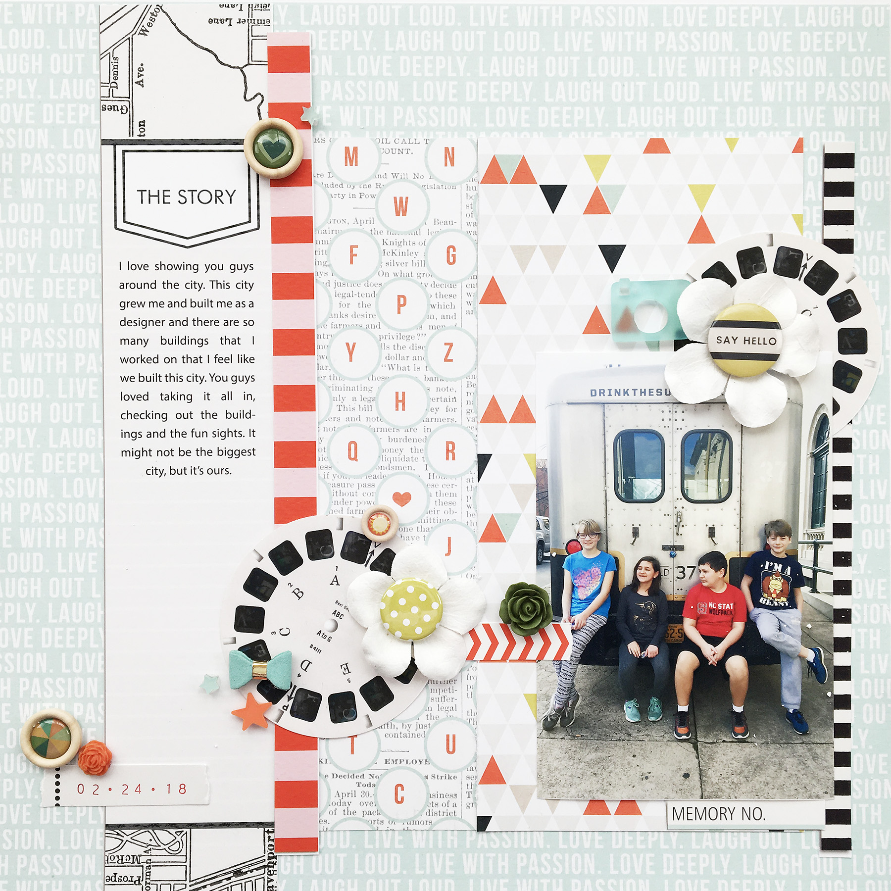 Theresa Moxley Hybrid Scrapbook Layout   Say Hello ft Sahlin Studio Quickpages