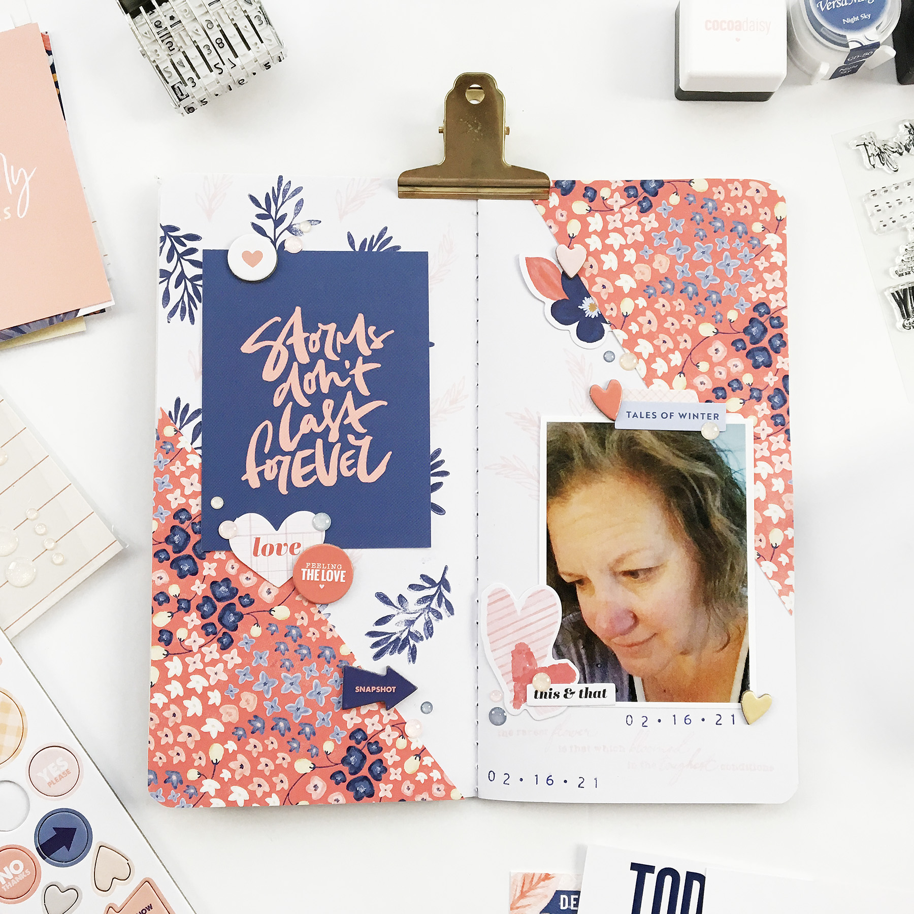 Travelers Notebook Layout | Storms ft Cocoa Daisy Denim and Blush