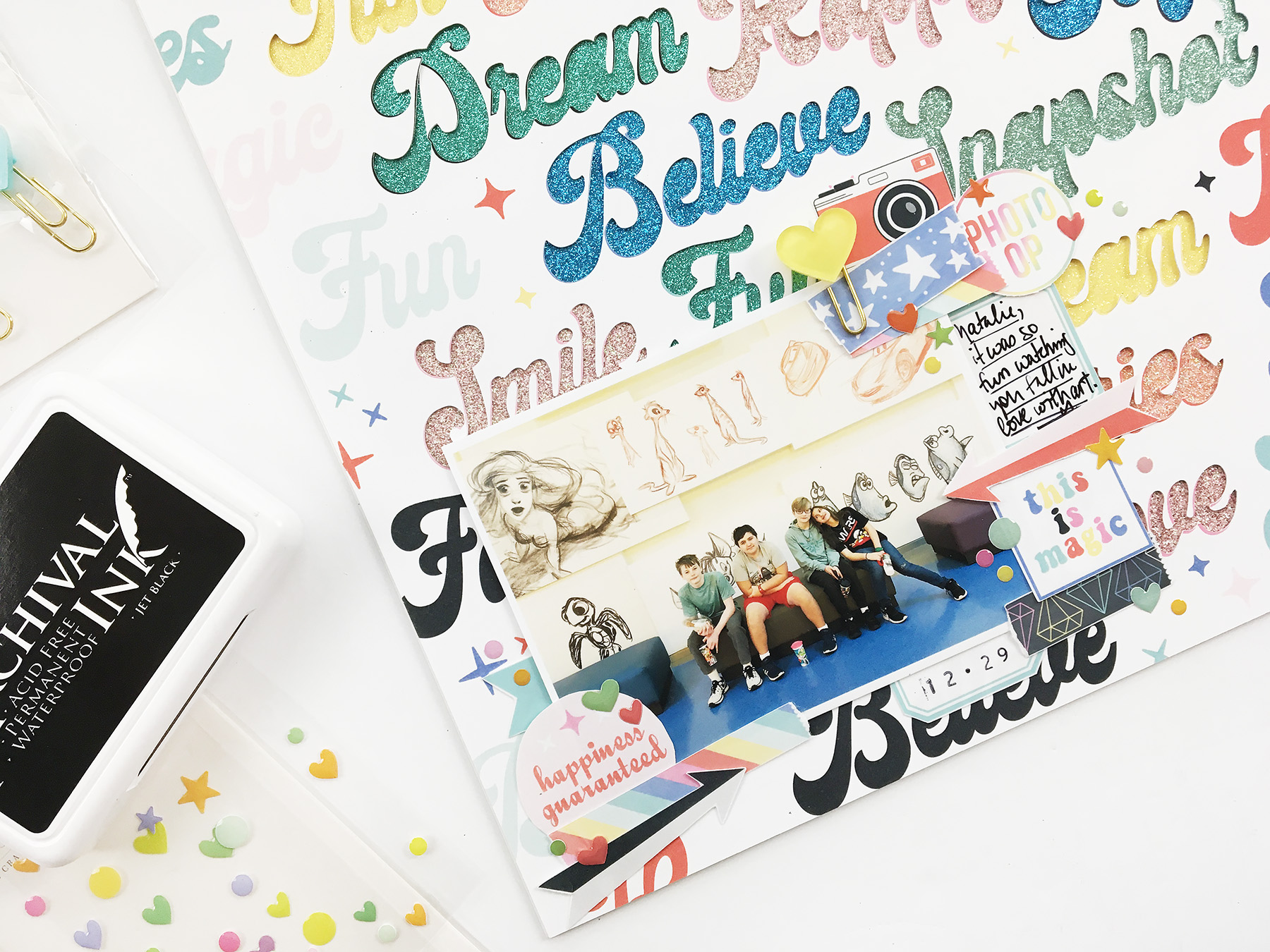 Theresa Moxley Hybrid Scrapbook Layout | This Is Magic ft Project Mouse POP