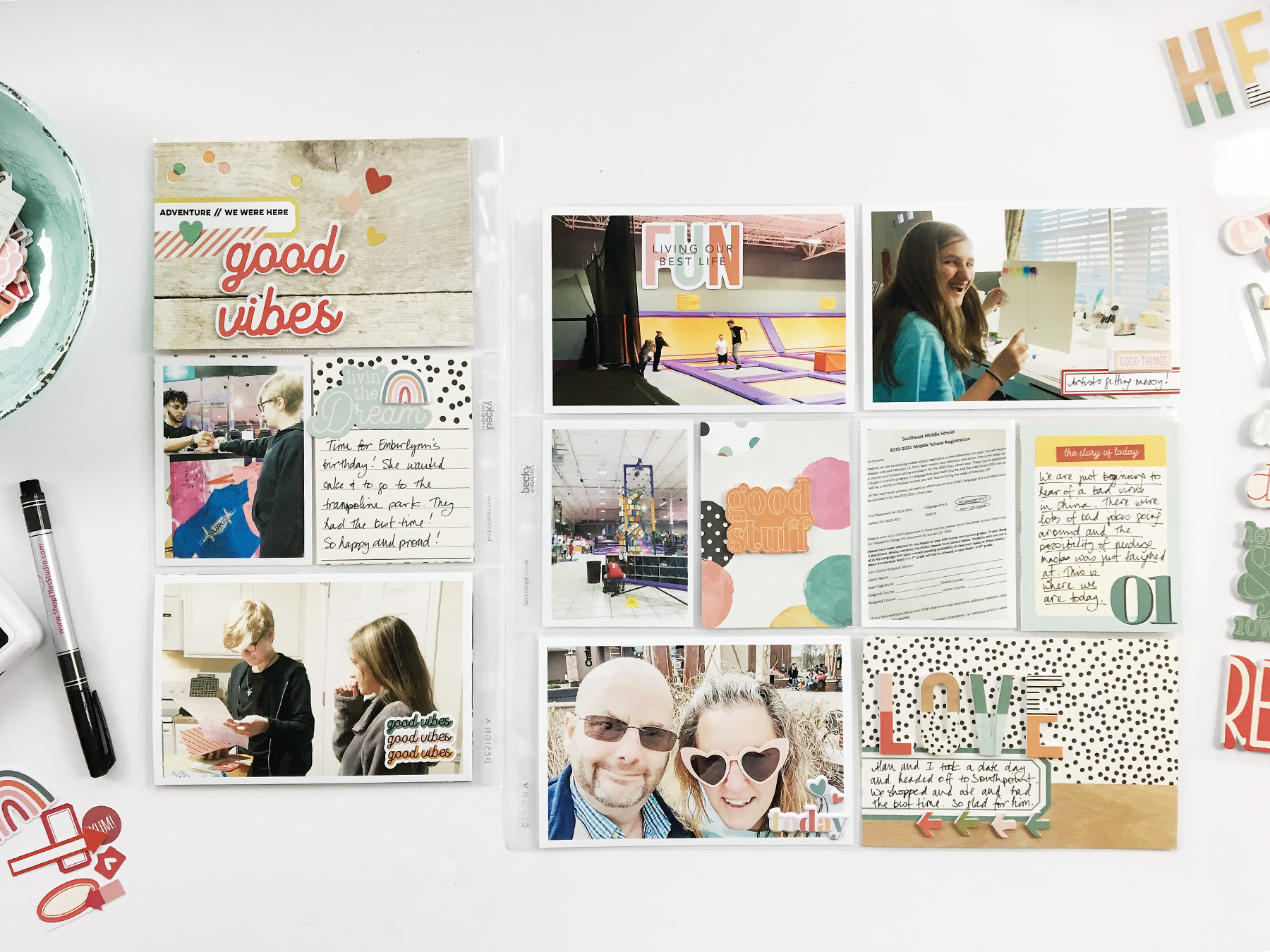 Theresa Moxley Project Life 2020 | January Monthly With Insert ft Simple Stories Hello Today