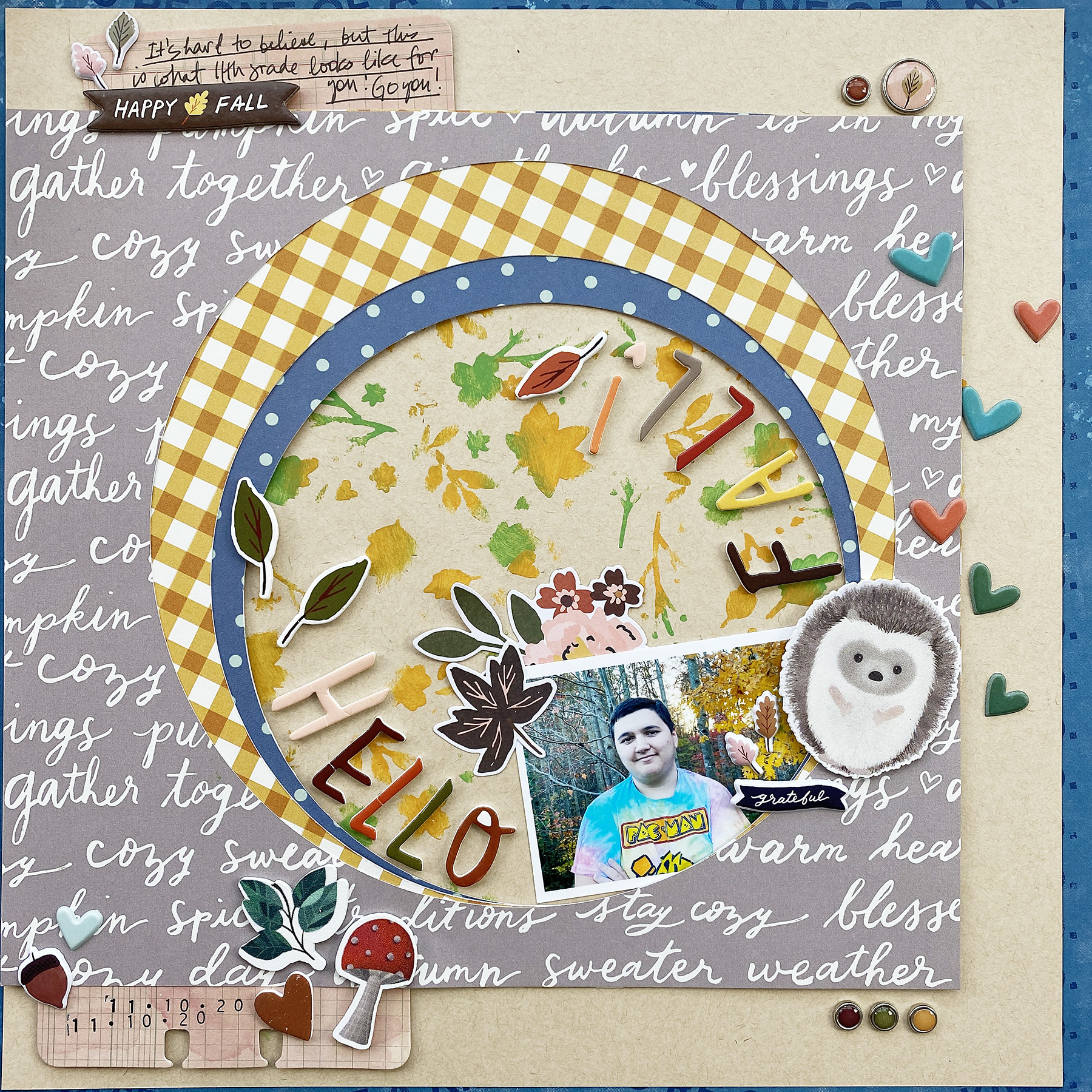 Theresa Moxley Traditional Scrapbook Layout | Hello Fall ft Simple Stories Cozy Days
