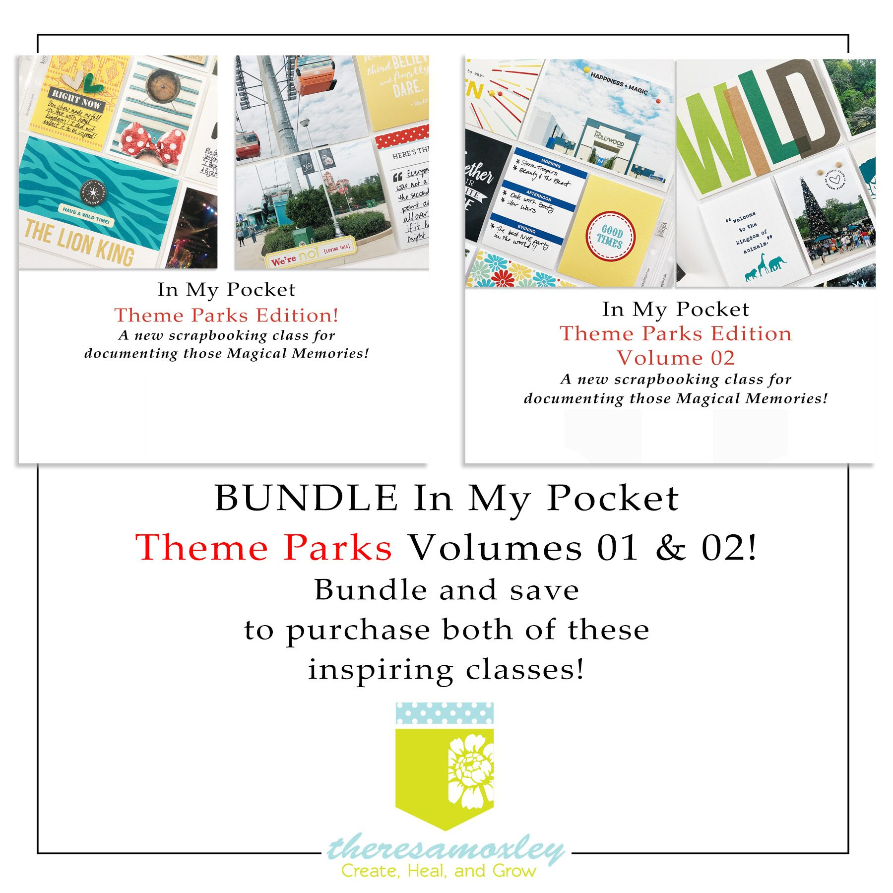 Class Bundle: In My Pocket Theme Parks Volumes 01 and 02 Memory Keeping Class